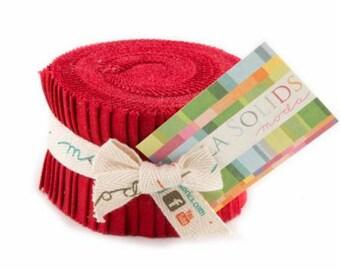 SPRING SALE - Junior Jelly Roll - Bella Solids Basic Red 9900JJR 16  - Moda Fabric