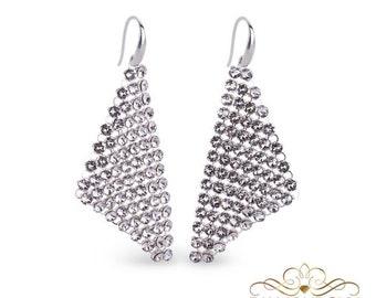 Swarovski Wedding Earrings Crystal Drop Earrings Bridesmaid Gift Silver Earrings Bridal Jewelry Earrings Gift For Her Statement Earrings