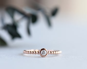 Dainty Solitaire Ring, Stackable Ring, Solitaire Ring, Trending Items, Minimalist Ring, Modern Ring, Rose Gold Ring, Gift For Her