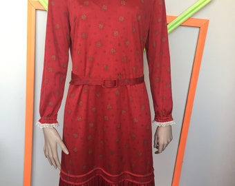Dark red 20s style vintage day dress, made in the late 70s/ early 80s