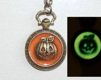 Halloween pumpkin Glowing Necklace Pendant, Pocket Watch Style , Glow in the dark, Resin, Pocket watch necklace, jewelry # et 633