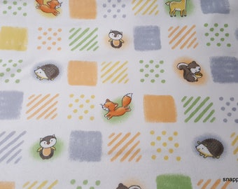 Flannel Fabric - Woodland Patchwork - By the yard - 100% Cotton Flannel