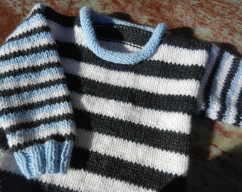 Handknit Baby Sweater in Blue, Black and White