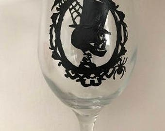 Halloween Skeleton Hand Painted Glass