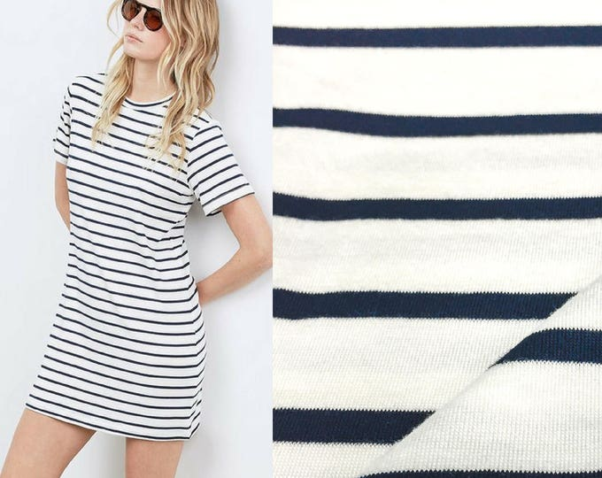 Featured listing image: Navy/Natural Stripe Modal Jersey with Spandex