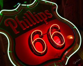 Fine Art Photo, Retro Art, Route 66 Art, Neon Phillips 66 Sign, Vintage Roadside, Man Cave, Art for Walls, Red, Green, White, Gifts for Guys