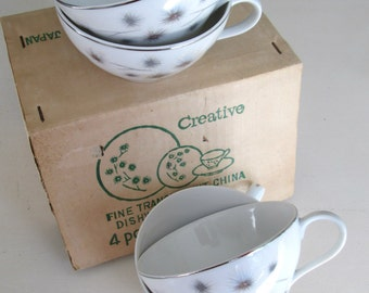 Fine China Tea Cups Creative Japan // Set 4 Original Box /Mid Century Modern