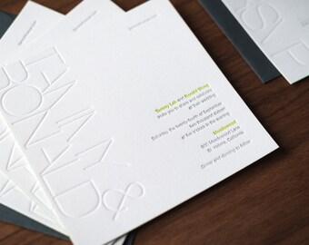 Modern Blind Press Invitation Suite