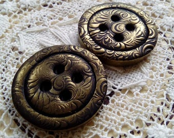 Pair of clay buttons, gold buttons, handmade buttons, chunky buttons, unique buttons, sewing, knitting, scrapbooking, craft supply