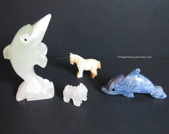Vintage Stone Carvings, Alabaster Figurines, Carved Horse, Donkey, Dolphins