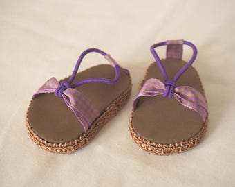 """Various Colors - 18"""" Doll Shoes - Summer Doll Sandals - American Made Girl Doll Clothes - Orange, Purple & Brown - 18 inch doll clothess"""
