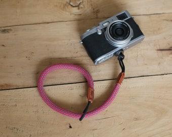 COOL RED Climbing rope 10.5mm handmade Camera wrist band