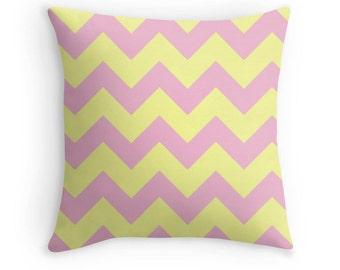 Pink Yellow Pillow, Pink Yellow Chevron, Pink Yellow Nursery, Pink Pillow, Pink Decorative Pillow, Teen Decor, Pink Throw Pillow, Pink