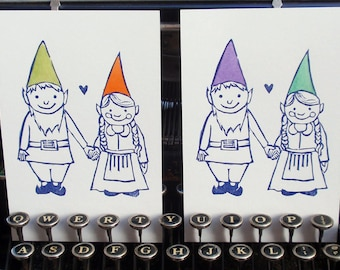 Painted Gnome Sweethearts Letterpress Postcard