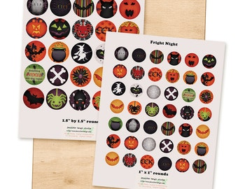 Fright Night - Digital Collage Sheet - 1 inch rounds, and 1.5 inch rounds