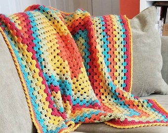 Hand Crocheted Afghan, Rainbow Throw, Granny Square Blanket - acrylic/wool