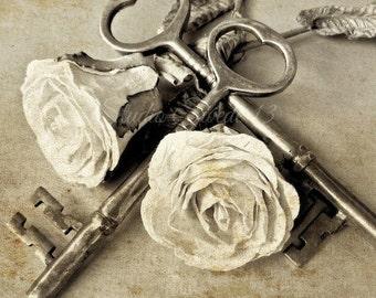 "Shabby Romantic Chic Photo, French Country Art, Old Key Print, Rose Art, Beige Neutral Art, White Rose Flower Photo, Wedding Gift- ""Tangled"""