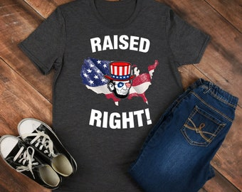 Raised Right - Abraham Lincoln - lincoln shirt - lincoln tee - lincoln outfit - lincoln clothing - abe lincoln shirt - abe lincoln tee
