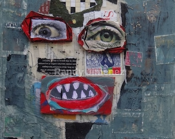 Original Outsider Art Painting - Art Brut - Neo-Expressonism Art - Collage