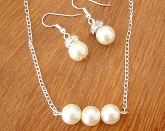 Triple Pearl Necklace and Earrings Set -  Wedding Necklace, Wedding Earrings