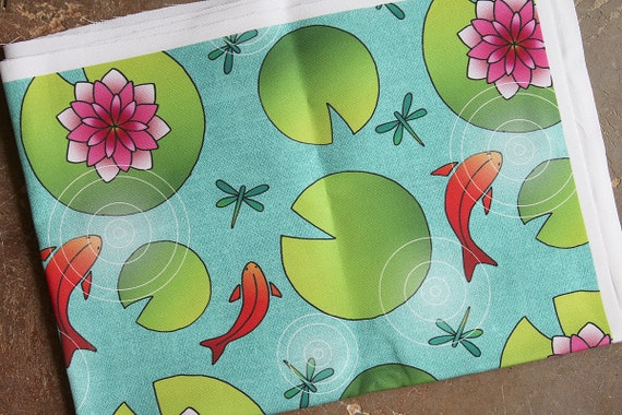 "Fabric coupon linen and cotton original ""waterlilies and goldfish"""