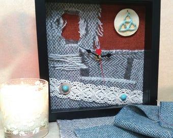 Handmade Donegal tweed clock