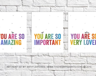 Nursery Print Set Of 3 Wall Art For Girls Room Prints Colorful Decor Quotes For Nursery Picture Whimsical Bird Art Posters Rainbow Baby Gift