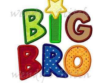 BIG BRO big brother applique machine embroidery design instant download