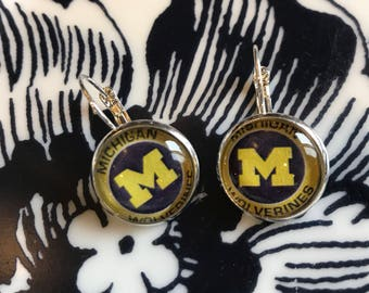Michigan Wolverines cabochon earrings- 16mm