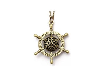 Ships Wheel Antiqued Bronze Charm Necklace Nautical 28""