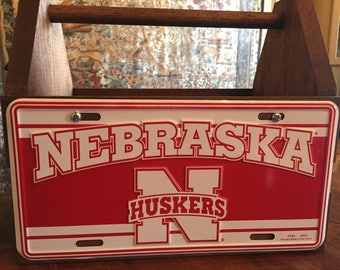 Handcrafted Nebraska Huskers License Plate Solid Wood Tote Box Drink Carrier