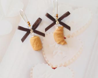 earrings french chocolate bread and croissant polymer clay