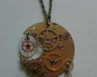 Steampunk Pendant Necklace ''Crescent Moon''