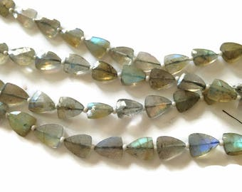 Labradorite faceted triangles.  Approx. 7.5x9mm.   Select a quantity.