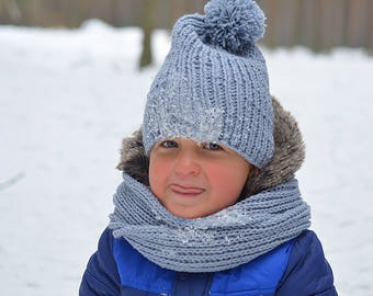 Hand knitted toddler had and infinity scarf / dusty blue color