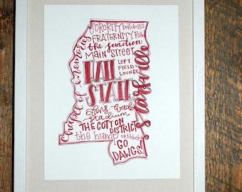 Mississippi State, Starkville Hand-lettered State