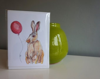 Birthday card- hare and a balloon print