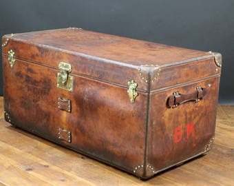 1920s Goyard Steamer Trunk in Natural Leather