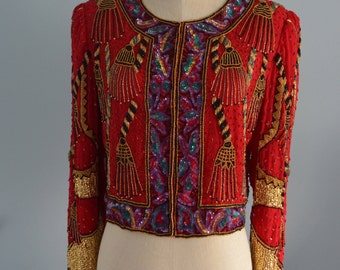 Red Beaded Jacket Sequined Evening TASSEL RED JACKET Size Small Gold Red Black