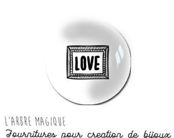 2 cabochons craft love heart message glass 20 mm - N709