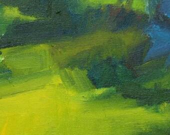 Yard in summer GICLEE ART PRINT 8 x 11 green backyard landscape