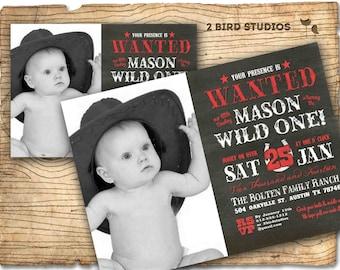 Cowboy Birthday Invitation Western Cowboy Wanted Poster