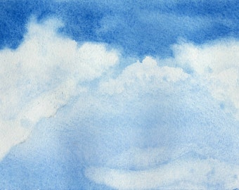 Abstract watercolor blue sky white clouds instant download naturalistic painting