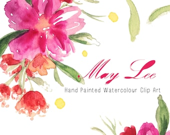 Watercolour Flowers - Hand Painted Clip Art - May Lee