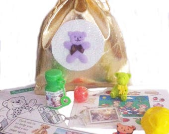 Teddy Bear picnic Party bag loot bags with 8 great items inside