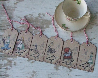 Alice in Wonderland Gift tags - cottage chic tags - red striped twine - embellishments - vintage inspired - gift tags