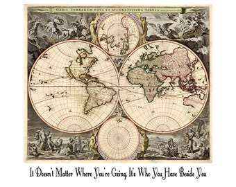 Ancient world map etsy it doesnt matter where youre going its who you have beside you travel art print quote vintage ancient latin world map gumiabroncs Gallery