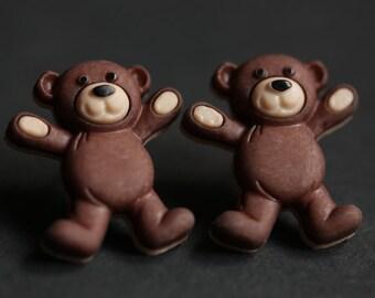 Teddy Bear Earrings. Brumble the Bear Button Earrings. Teddybear Earrings. Stud Earrings. Dark Brown Earrings. Post Earrings.