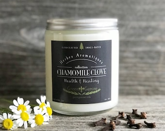 Handmade Chamomile Clove Health and Healing Soy Candle