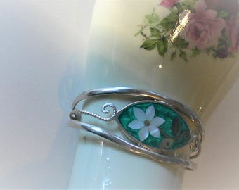 sterling cuff turquoise inlay bracelet